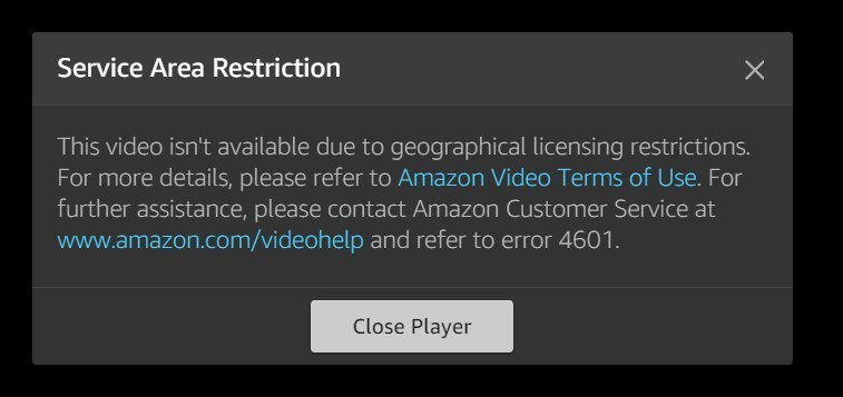Amazon Prime Error