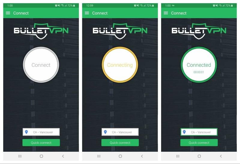 BulletVPN App Interface