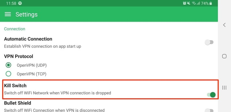 BulletVPN Kill Switch