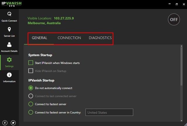 IPVanish VPN App Interface