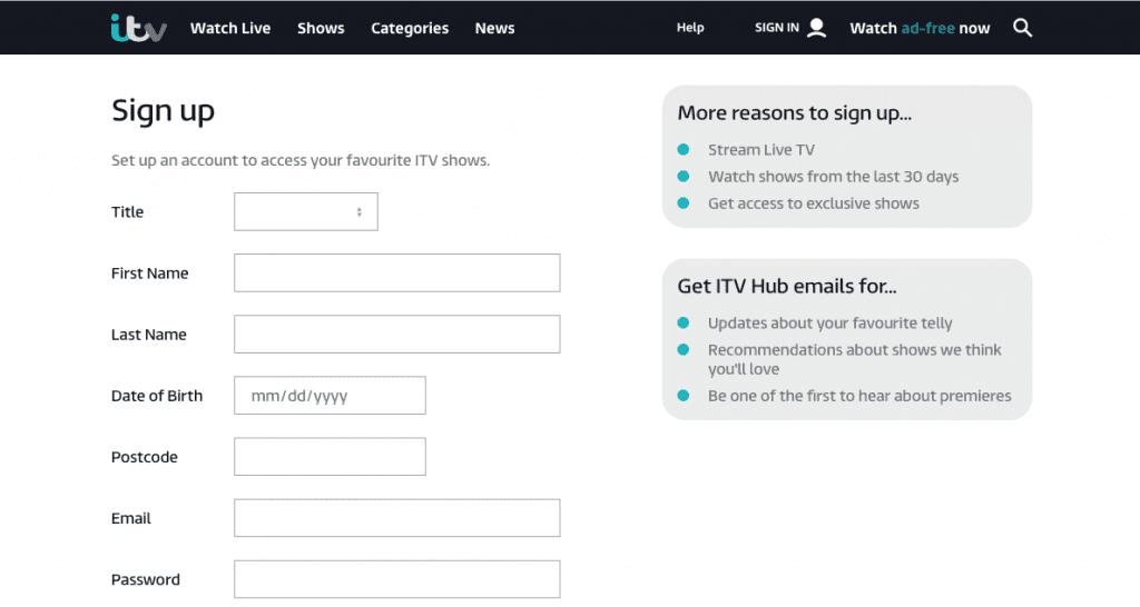 ITV Enter Details