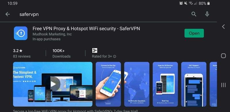 SaferVPN Play Store