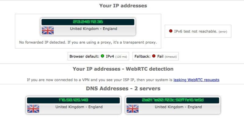 PrivateVPN Leak test