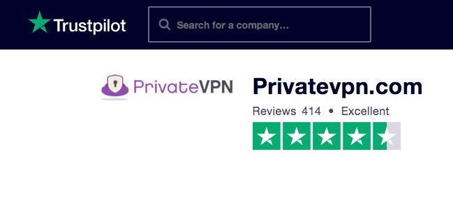 PrivateVPN Trustpilot