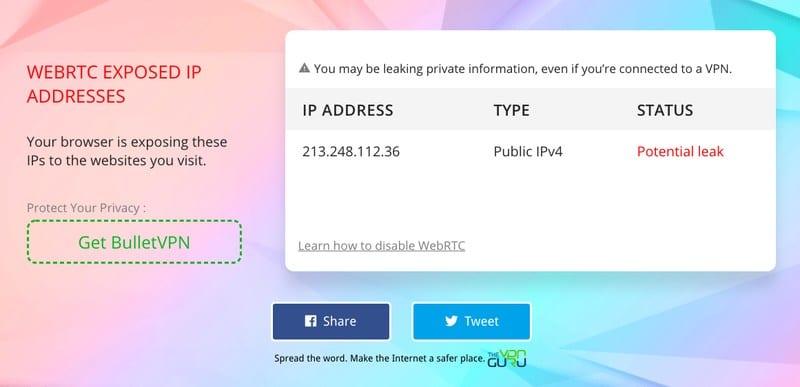 WebRTC Leak PrivateVPN