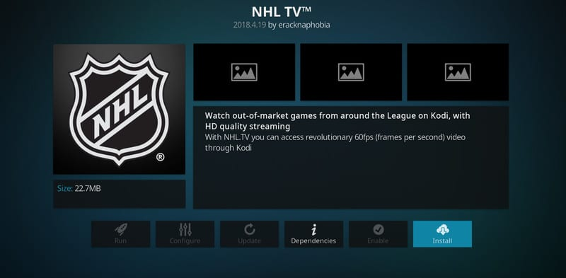 Click on Install NHL.TV