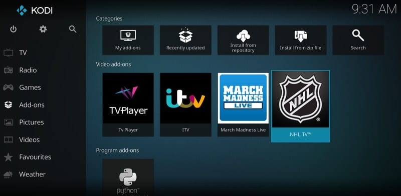 NHL.TV Add-on