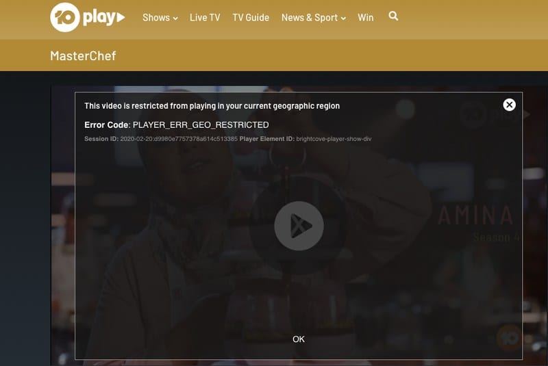 TenPlay Error MasterChef