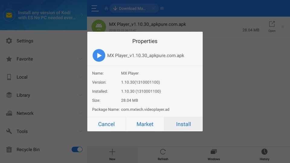 Click Install MX Player