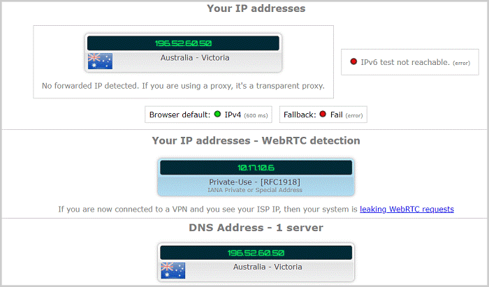 PIA DNS Leak protection