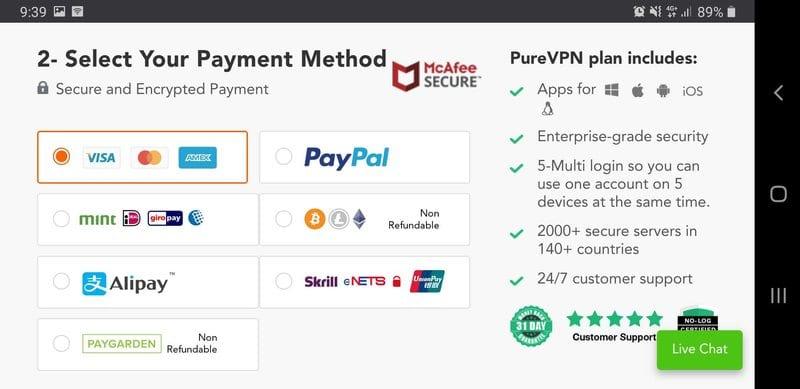PureVPN Payment Methods
