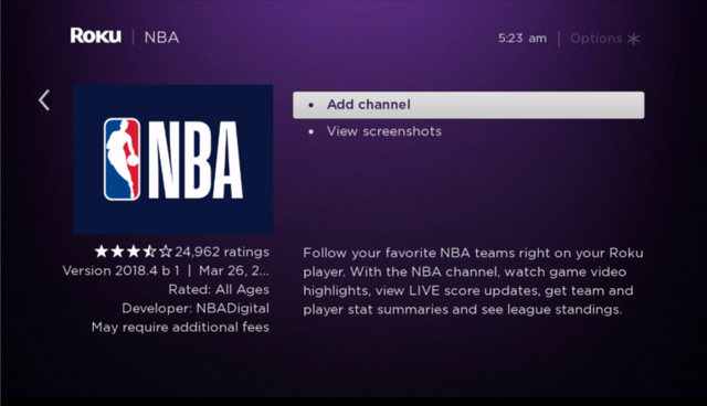 NBA add Channel