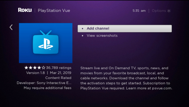 Playstation Vue add channel