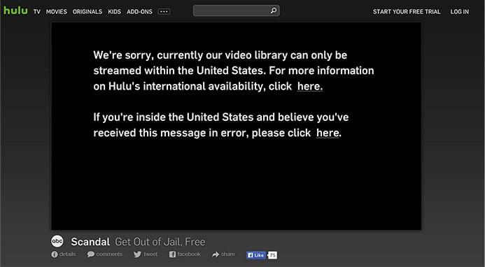 Hulu geoblock message