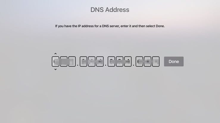 Enter DNS Apple TV 4