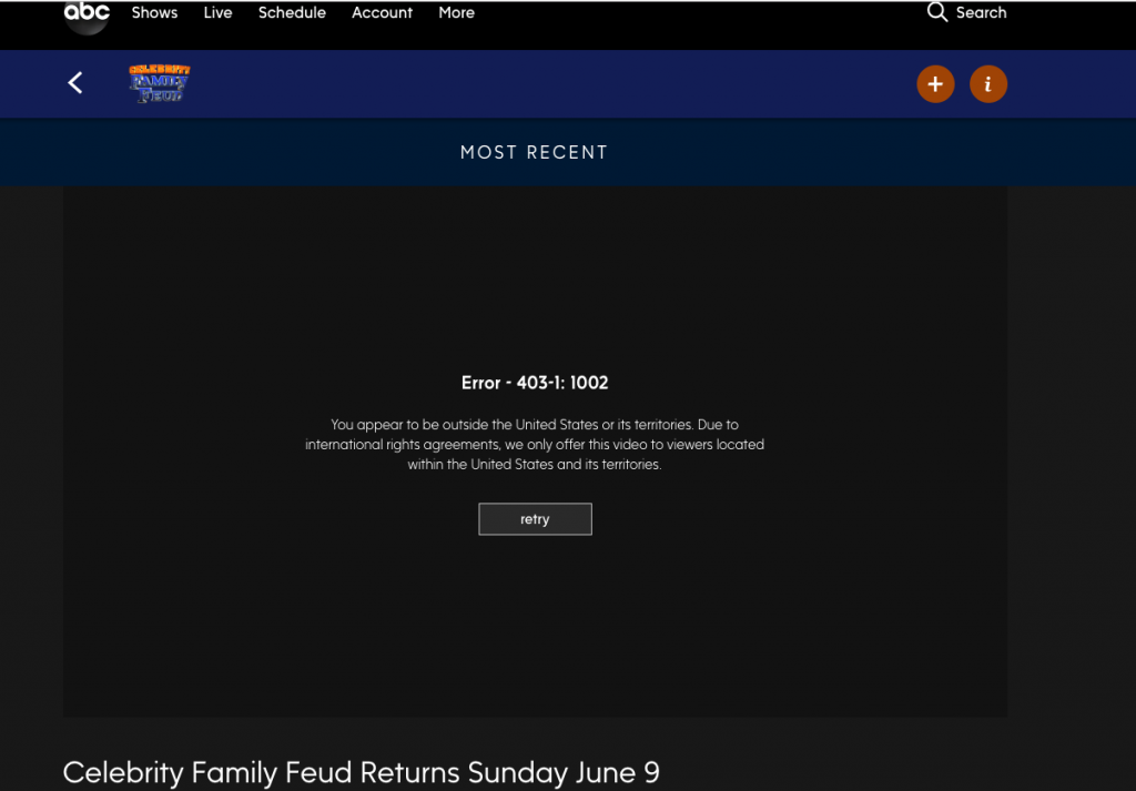 Celebrity Family Feud Error