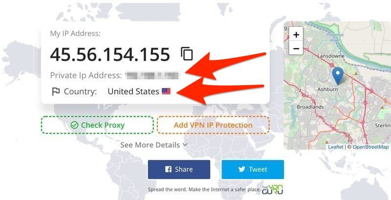 Private Ip Address and Region