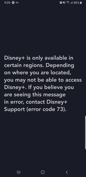 Disney+ Error Android