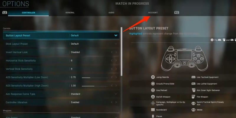 WarZone Account Settings