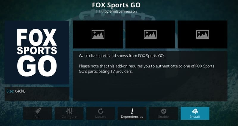 Click on Install Fox Sports Go