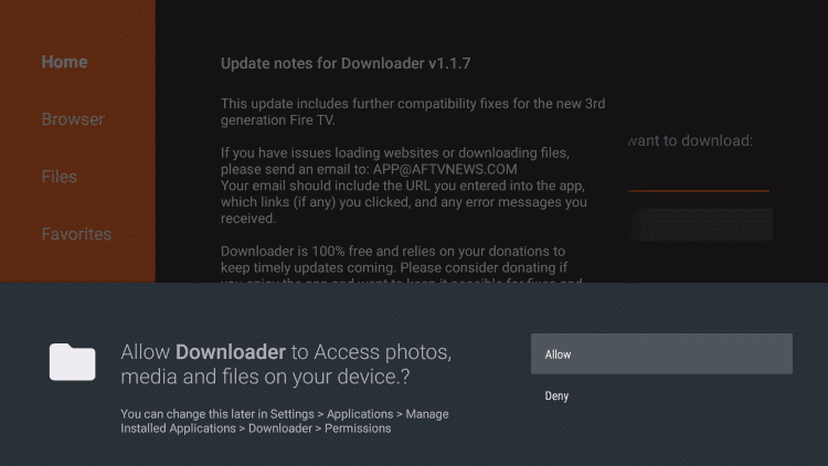 Downloader Allow Access