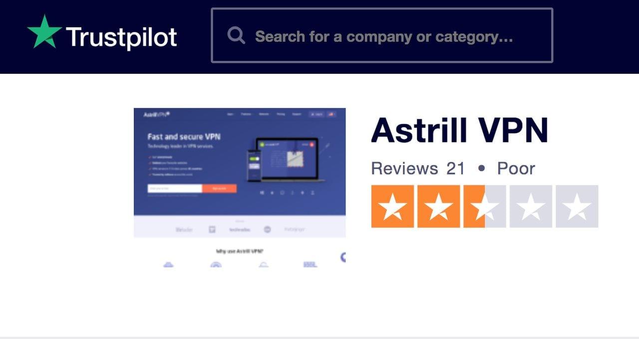 AstrillVPN Trustpilot