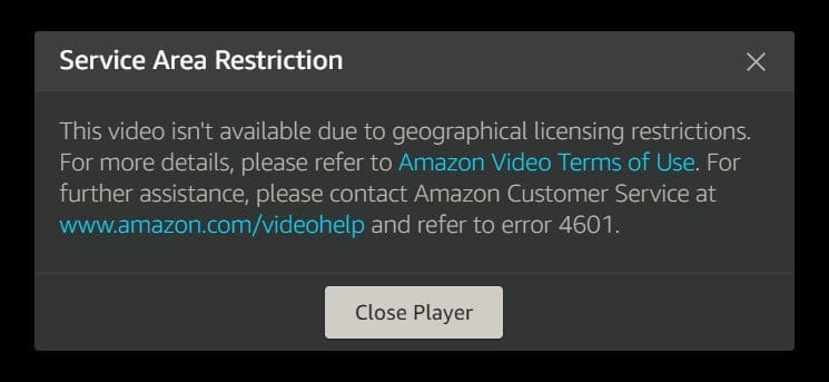 Amazon Prime Video Error
