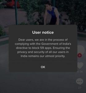TikTok User Notice