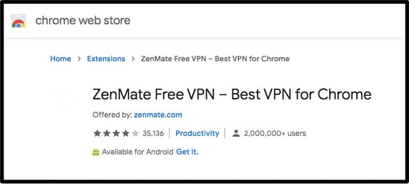 ZenMate Extension Rating
