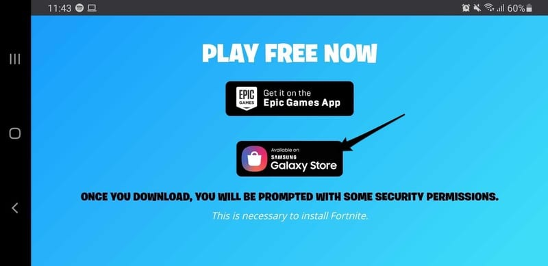 Fortnite on Android Galaxy Store 1