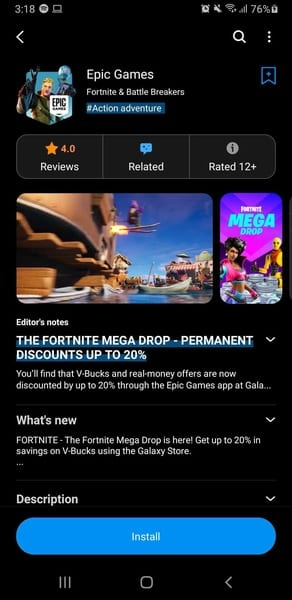 Fortnite on Android - Galaxy Store 2
