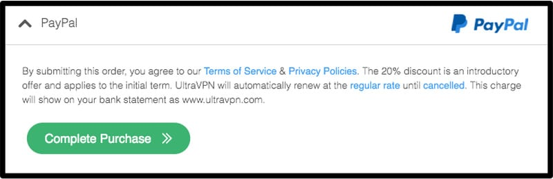 PayPal UltraVPN