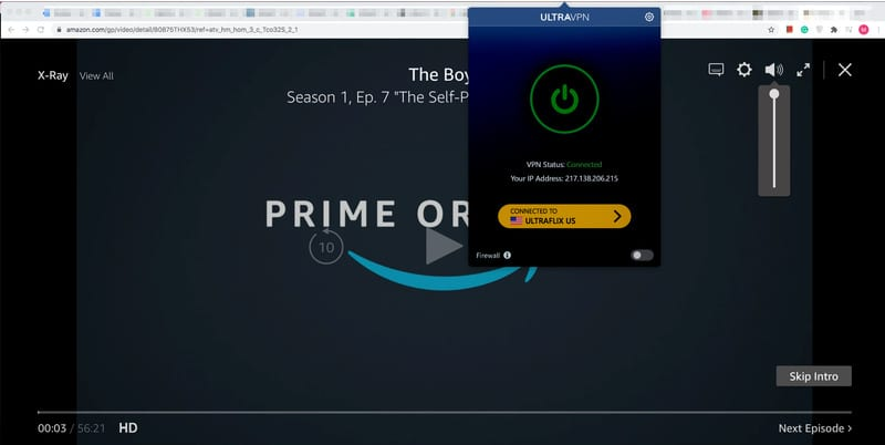 UltraVPN Amazon prime Video