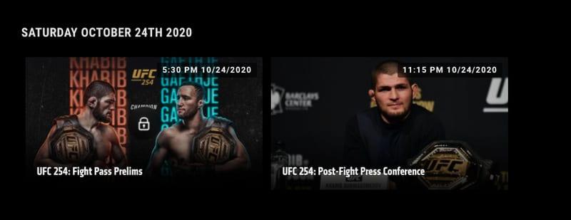 UFC FIght Pass US 254