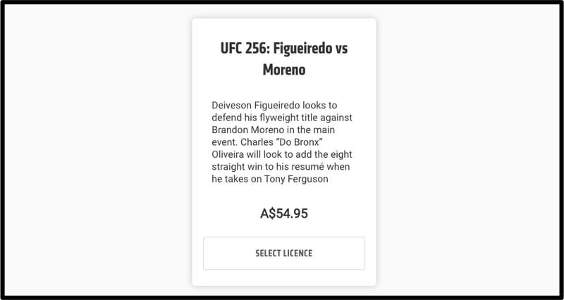 UFC 256 Australia Price