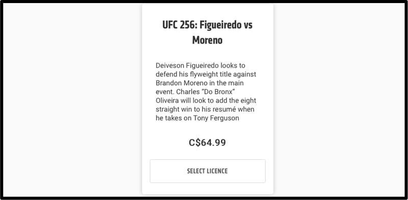 UFC Canada Price