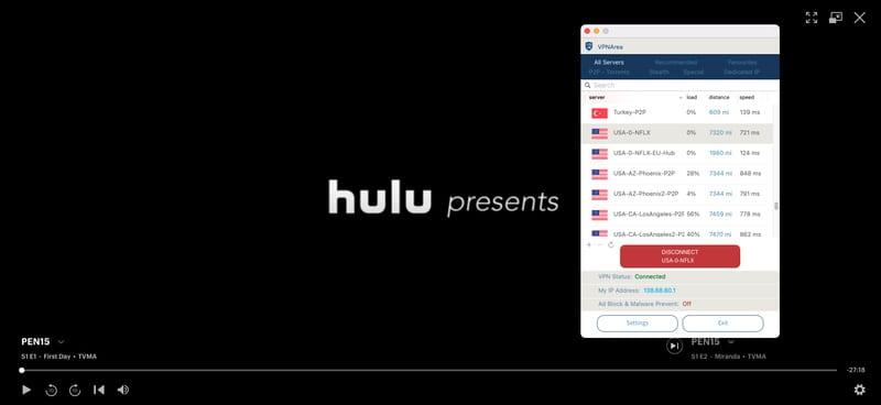 VPNArea Hulu Worked