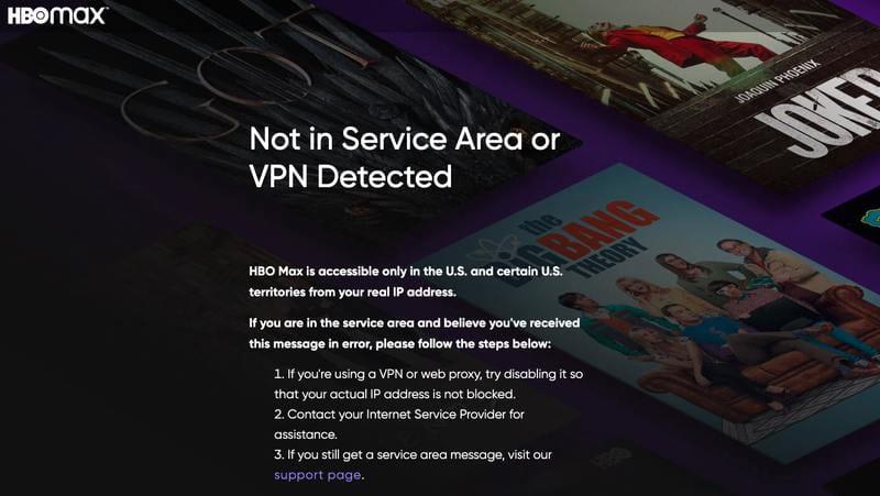 HBO Max VPN Error